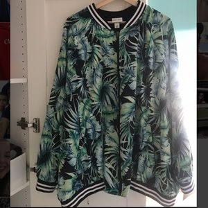 Palm leaf bomber jacket